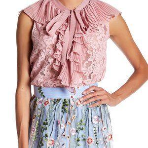 TOV Holy lace ruffled sleeveless top blush size 44